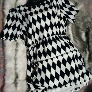 Pink Owl Black & White diamond pattern mini dress